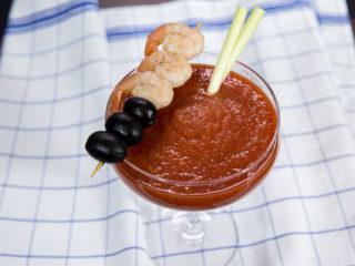 Shrimp and Tomato Vodka Cocktail