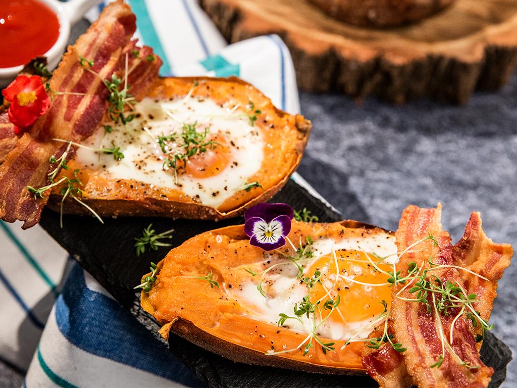 Baked Sweet Potato Egg Boats