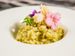 Pesto Risotto with Fried Squid