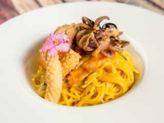 Angel Hair Pasta with Seafood and Squash