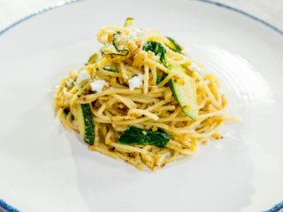 Zucchini and Goat Cheese Spaghetti
