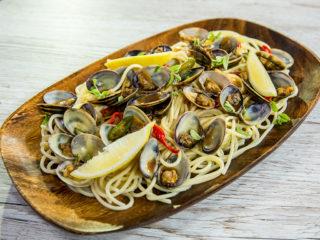Asian Style Clam Spaghetti