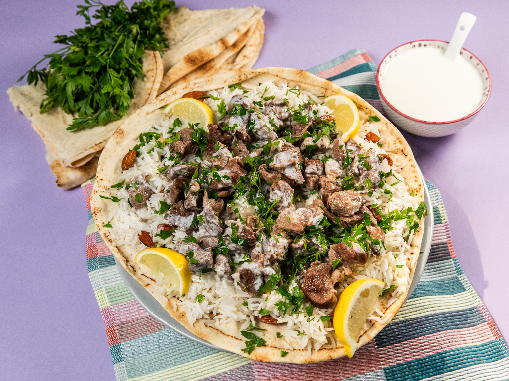 Lamb Wrap with Almond Basmati Rice
