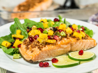 Salmon with Mango, Pomegranate and Blueberry Salsa