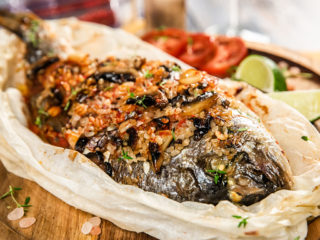 Sea Bream Stuffed with Rice and Mushrooms
