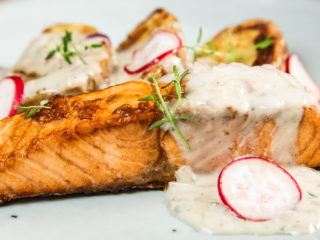 Soy-Glazed Salmon with Baked Potatoes and Creamy Sauce