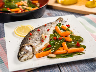 Whole Baked Trout with Beans, Snow Peas and Baby Carrots