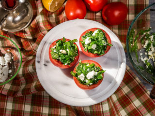 Garlicky Spinach and Feta Salad in Tomato Halves