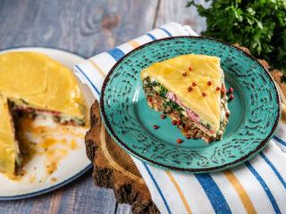 Beef and Salami Lasagna Cake