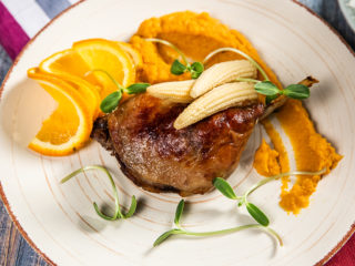 Spiced Duck Leg Confit with Butternut Squash Puree