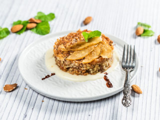 Almond Crumble Topped with Pears