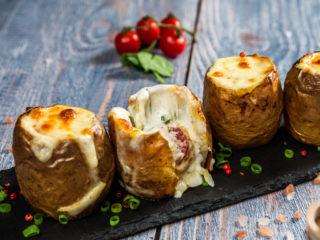 Cheesy Salami and Sour Cream Jacket Potatoes