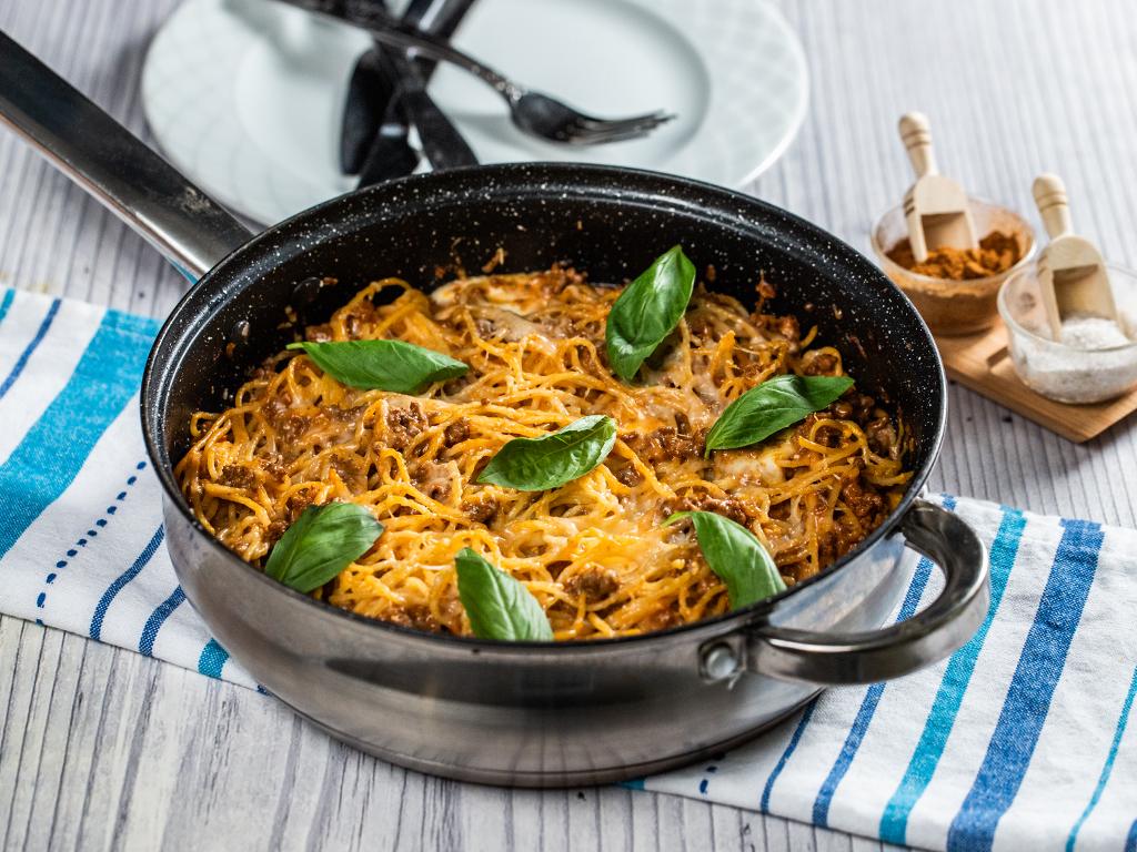 Cheesy Ground Beef Spaghetti