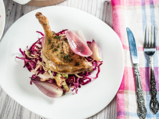 White Wine-Baked Duck Legs with Cabbage Salad