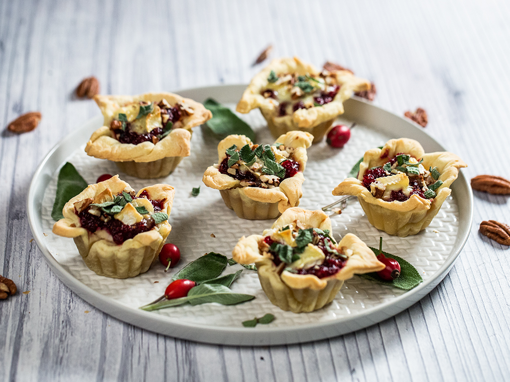 Chicken, Brie and Cranberry Jam Tartlets