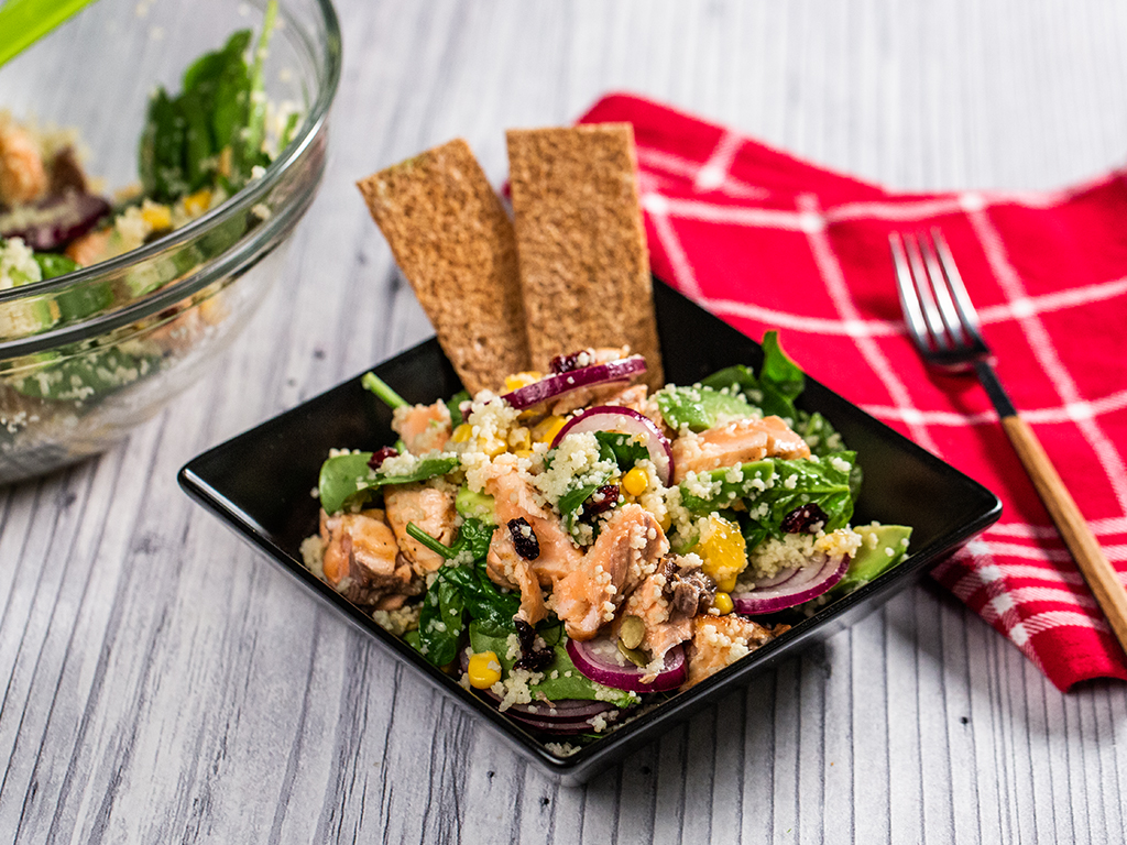 Salmon and Couscous Salad with Lemon Honey Dressing