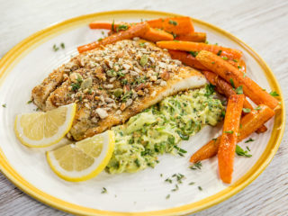 Almond-Crusted Sea Bass with Celery Remoulade and Carrots
