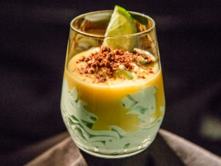 Curacao and Mascarpone Mousse with Pineapple Sauce