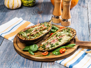 Cheesy Ham-Stuffed Eggplant