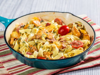 Bacon and Chanterelle Mushroom Tagliatelle