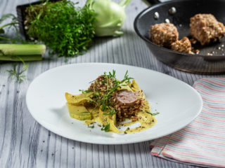 Walnut-Crusted Pork Tenderloin with Creamy Fennel and Turnip