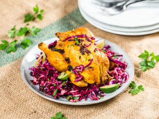 Black Rice-Stuffed Chicken with Red Cabbage Salad