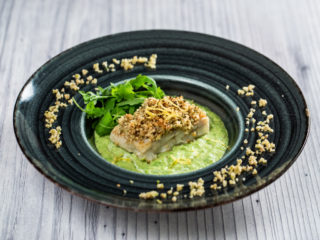 Nut-Crusted Cod Fillet with Pea Puree