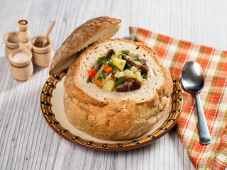 Mushroom Soup Served in Bread Bowl