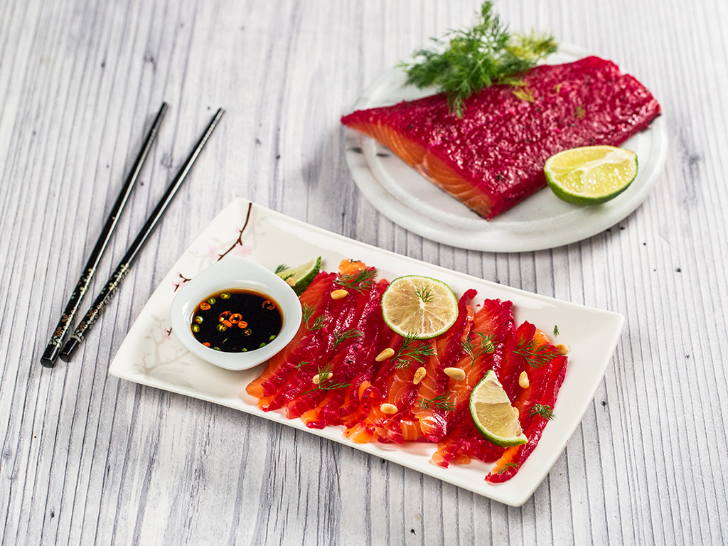 Salmon Cured in Beetroot and Horseradish (Gravlax)