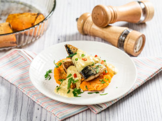 Sweet Potatoes and Mackerel with Ginger Sauce