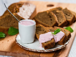 Ginger Carrot Loaf Cake with Red Currant and Yogurt Sauce
