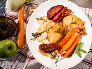 One-Pan Beetroot and Carrot Roasted Chicken Thighs
