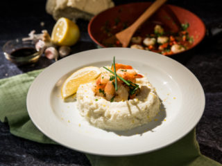 Cauliflower Mash with Lemony Shrimp