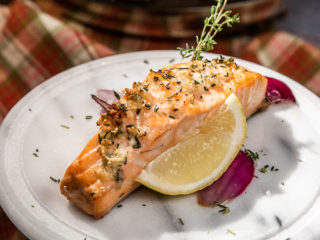 Pan-Fried Salmon with Garlicky Ghee Sauce