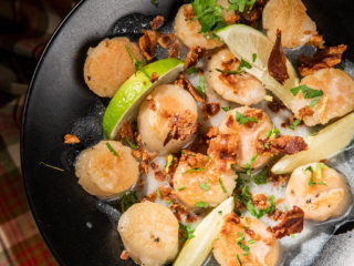 Lemony Ghee Scallops with Bacon