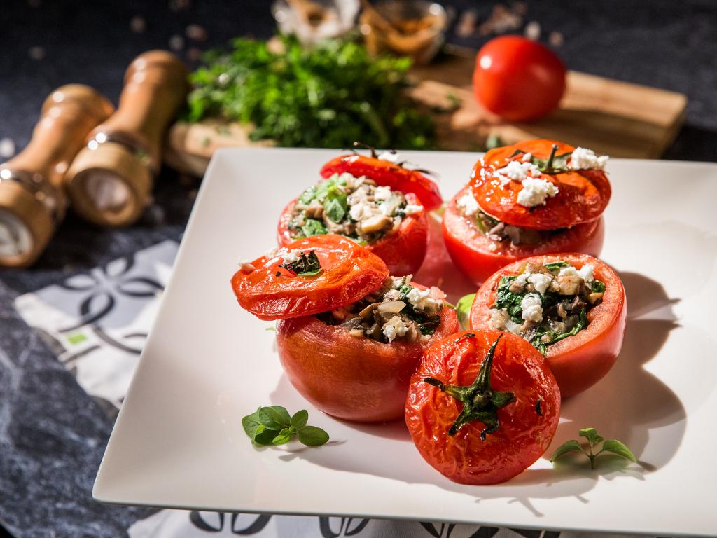Mushroom-Stuffed Tomatoes
