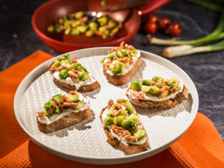 Ricotta Toast with Brussels Sprouts and Pancetta