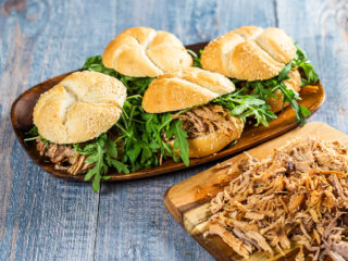 Pulled Pork Sandwiches with Arugula