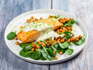 Roasted Salmon with Chickpeas