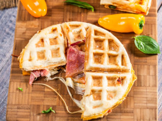 Cheesy Prosciutto and Salami Waffles
