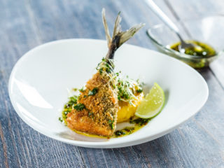Crispy Mackerel Tail with Grilled Polenta