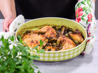 Roasted Chicken with Sultanas and Olives