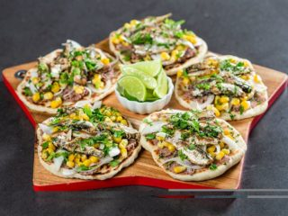 Sardine Tacos with Beans and Corn