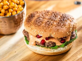 Hummus Lamb Burger with Fried Chickpeas and Pomegranate Seeds