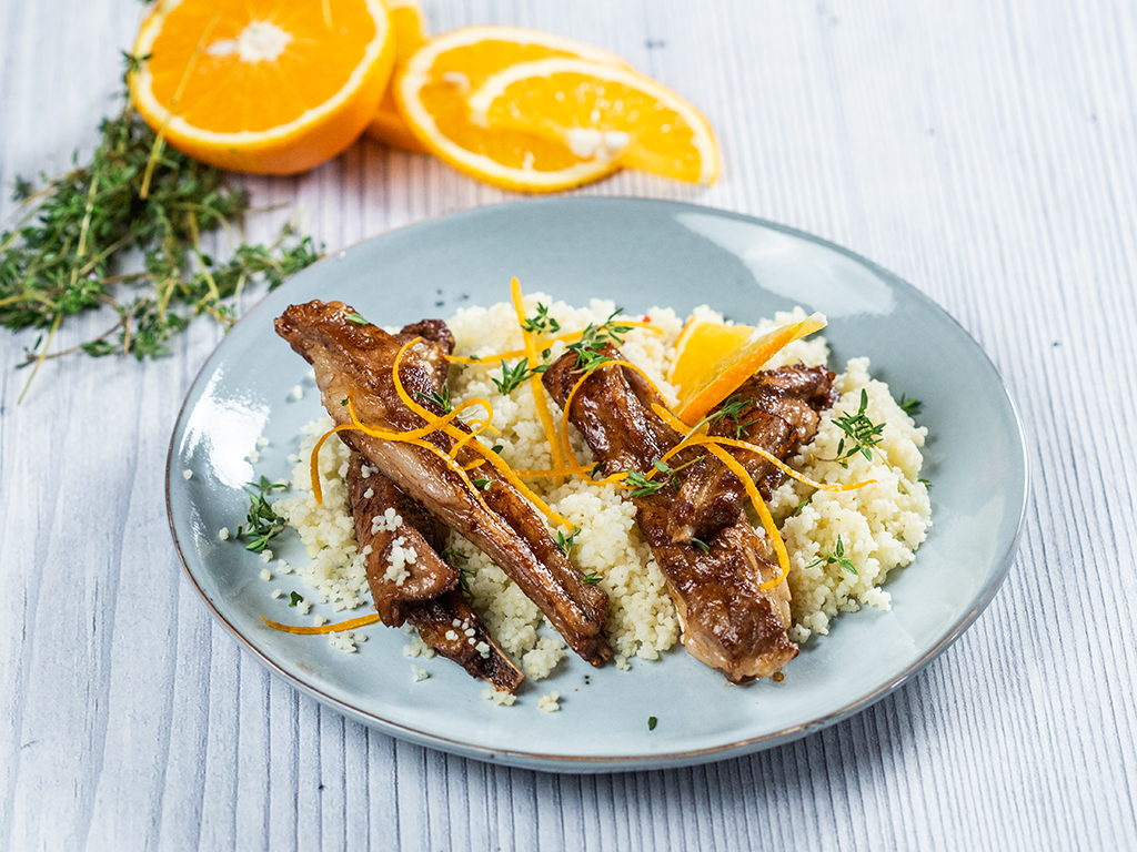 Lamb Ribs with Ginger, Orange and White Wine