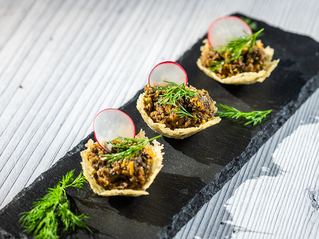 Mushroom-Stuffed Parmesan Cups -