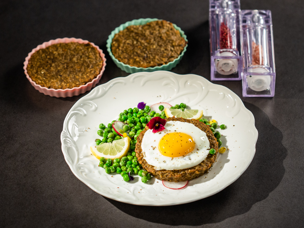 Cashew and Mushroom Tartlets with Fried Eggs and Peas