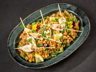 Pan-Cooked Baby Octopus Rice with Grilled Squid -