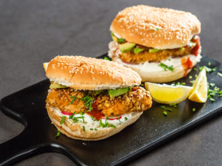 Puffed Rice and Yogurt Chicken Burger
