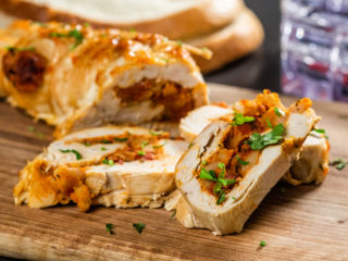 Chorizo and White Bean Rolled Chicken